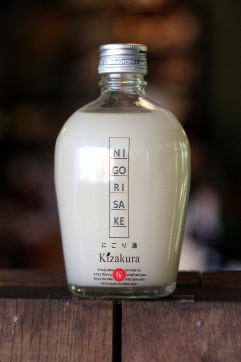 Kizakura Nigori Sake - milk-white, unfiltered (or lightly filtered) sake. Fermented rice solids left in this sake create creamy, mouth-filling clouds complementing notes of pear and lychee. Despite its richness, it's not sweet and – drunk chilled – it's a great accompaniment to spicy food.