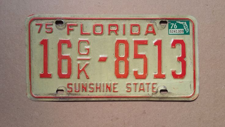 Vintage 1975 Florida License Plate 1975 license plate vintage Florida license plate old Florida license plate antique Florida license & 39 best Vintage License Plates images on Pinterest | Licence plates ...