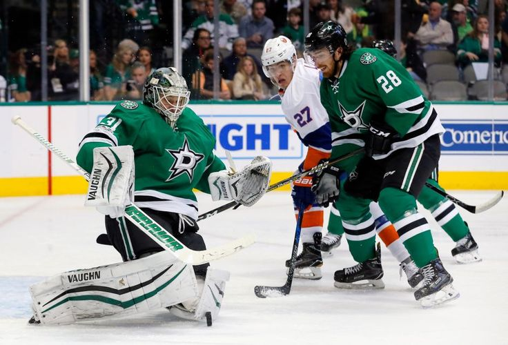 Islanders vs. Stars:  March 2, 2017  -  The Islanders beat the Dallas Stars, 5-4, on Thursday night at American Airlines Center in Dallas:  By NEWSDAY.COM  -      Dallas Stars' Antti Niemi (31) of Finland blocks a shot from the New York Islanders as Stephen Johns (28) helps against pressure at the net by Anders Lee (27) during the second period of an NHL hockey game, Thursday, March 2, 2017, in Dallas.