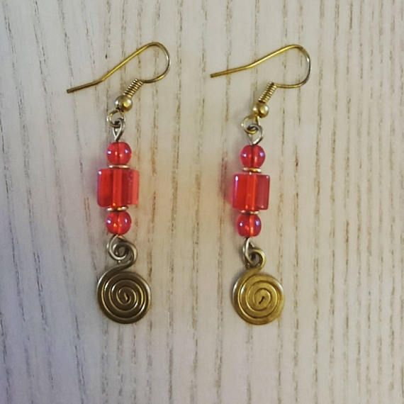 Afrocentric handcrafted earrings red dangling earrings