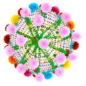 łowicki pająk tradycyjny ludowe mieszkanie wykonany ręcznie z bibuły kolorowej