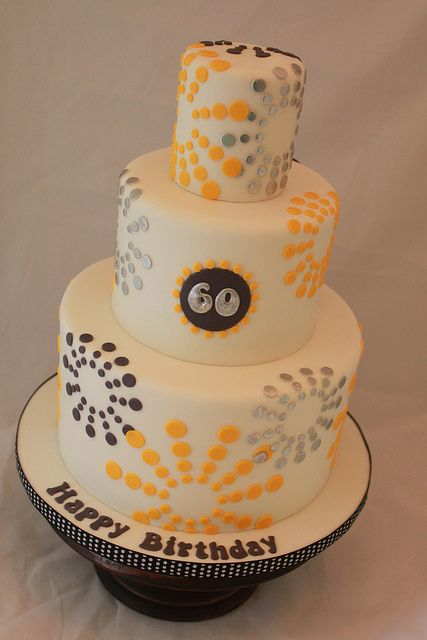Yellow And Grey 60th Birthday Cake By Andrea S Sweetcakes