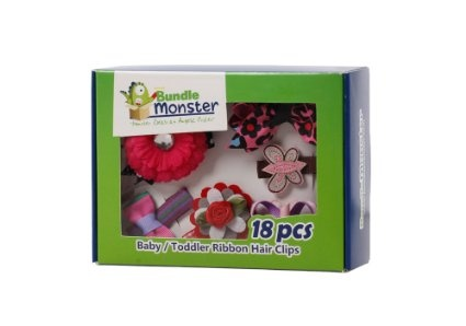 Bundle Monster 18pc Girl Baby Toddler Ribbon Bows Flowers Mixed Design Hair Clip and Barrettes on amazon today for $15.99 & eligible for FREE Super Saver Shipping  find more items like this at http://www.ddsgiftshop.com/baby