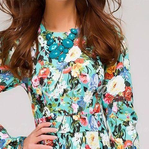 Vintage Round Neck Long Sleeve Floral Print Women's Prom Dress