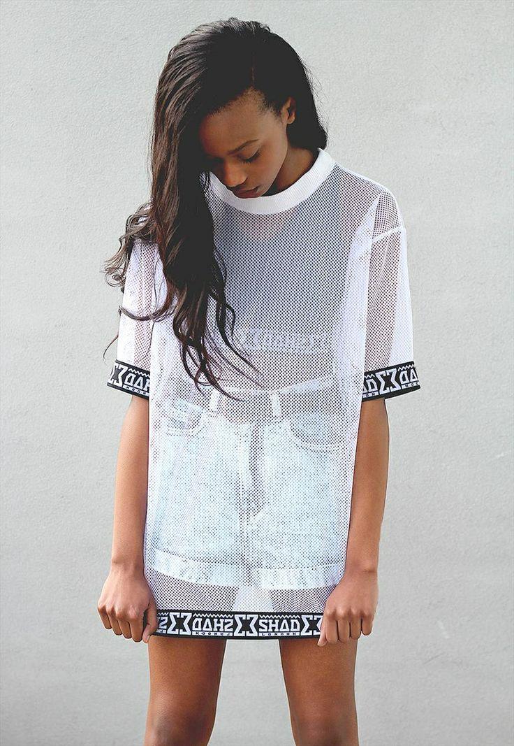 Shade London White Mesh Oversized T Shirt Street Wear