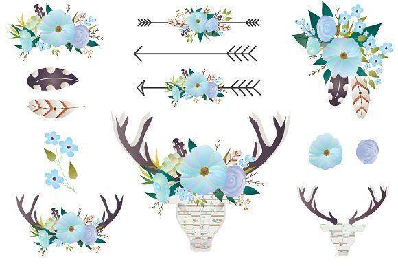 Boho Floral clip art - Deer antlers  by CutePaperStudio on @creativemarket