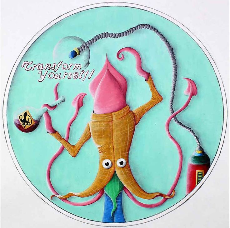 An Oil on Paper illustration featuring a man being transformed into a squid-like creature. see more @ the mind is right http://themindisright.com/Project/Transform-Yourself