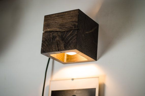 wall lamp wooden CUBE#17 handmade. wall light. sconce. wood lamp. wooden lamp. minimalist light. natural. dark brown bog oak wall lamp.