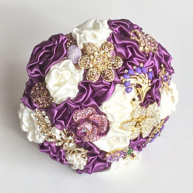 Cadbury purple Fabric and Brooch Bouquet by Florio Designs