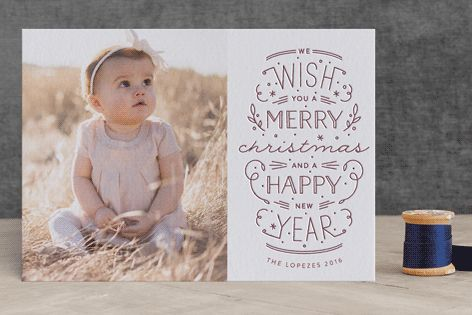 """""""Merry Christmas Happy Year"""" - Typography Letterpress Holiday Photo Cards in Plum by Phrosne Ras. #merry #happyholidays #foil #gold #rosegold #merrychristmas #photocards #minted #holidayscards #cards #christmas #holiday #happynewyear #cheers #love #merrybright #religious #bright #joy #clean #simple #modern #elegant #glitter"""