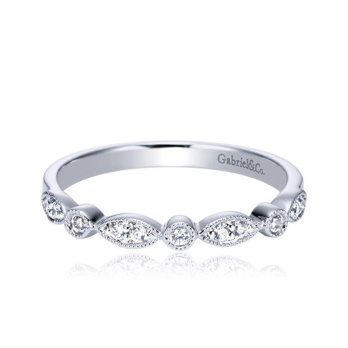 Gabriel Ny White Gold Diamond Contemporary Design Wedding Band Style Vendor Model Material