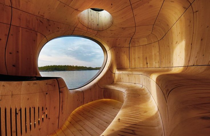 This remote island sauna is inspired by cavernous Italian grottoes, but it's also an homage to Northern Ontario's topographically diverse landscape, particularly the waters of Lake Huron and the rocky Precambrian Shield. Partisans' reclaimed cedar structure is a reinvention of the traditional sauna experience, with a warm sculptural interior and a pre-aged wood exterior that blends in with the surroundings.