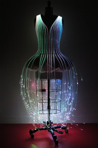 As seen on Instructables.com! Create your own Fiber Optic Dress by Fashion Designer, Natalie Walsh of www.nataliewalsh.com. Your dress will have 27 exotic color modes, rechargeable batteries, a charger and...