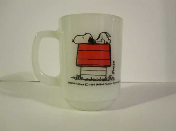 """Vintage Fire King Anchor Hawking Milk Glass 1958 Snoopy Peanuts Charlie Brown Coffee Mug Cup """"I Think I'm Allergic to Mornings"""" Glass"""