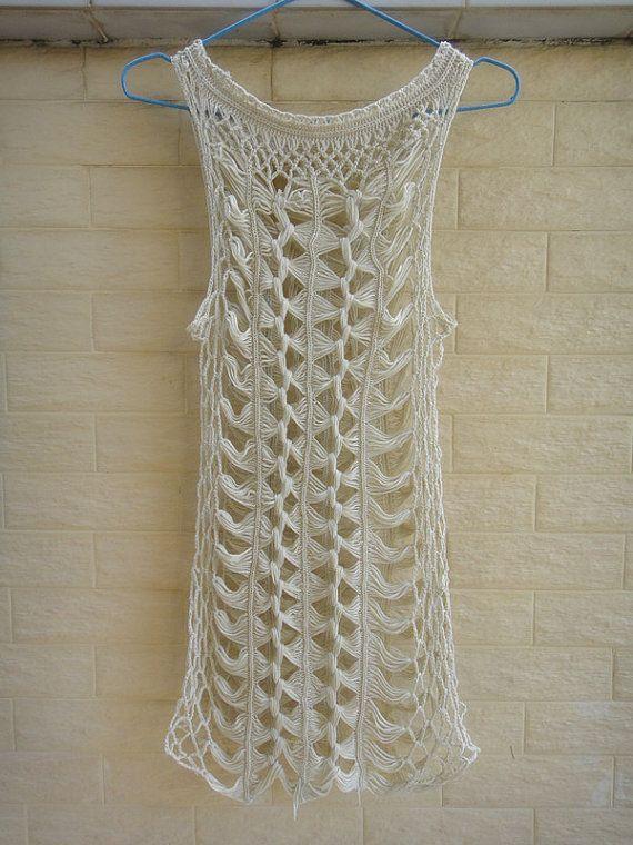 Bohemian Beige Crochet Vest Long Summer Lace Tank Top Beach Cover Up Hairpin Crochet Pattern