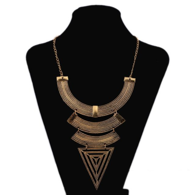 Ethnic Custom Geometric Triangle Maxi Necklace 2016 Ancient Gold Silver Retro Exaggerated Accessories Jewelry For Women
