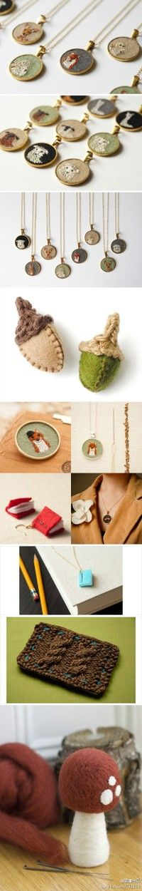embroidered necklace pendants