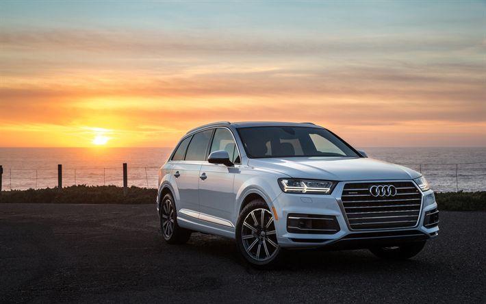 Download imagens Audi Q7, 2017, JIPE, pôr do sol, Q7 branco, Carros alemães, Audi