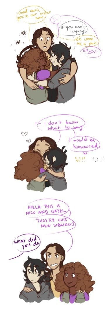 you can't convince me that nico and hazel don't entirely adopt reyna into their little family forevermore | art by smallnico