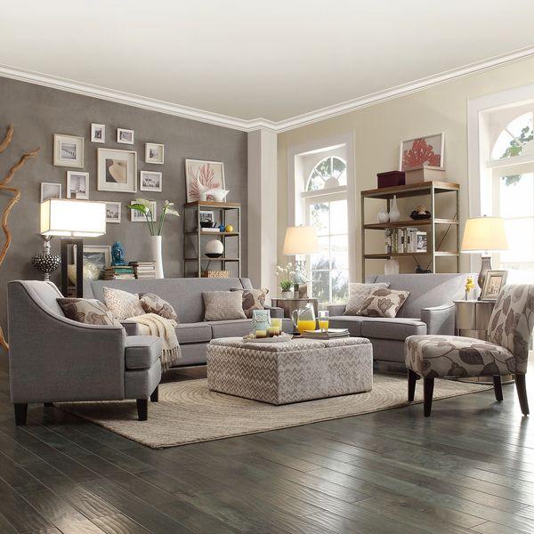 Winslow Grey Linen Concave-arm Sofa