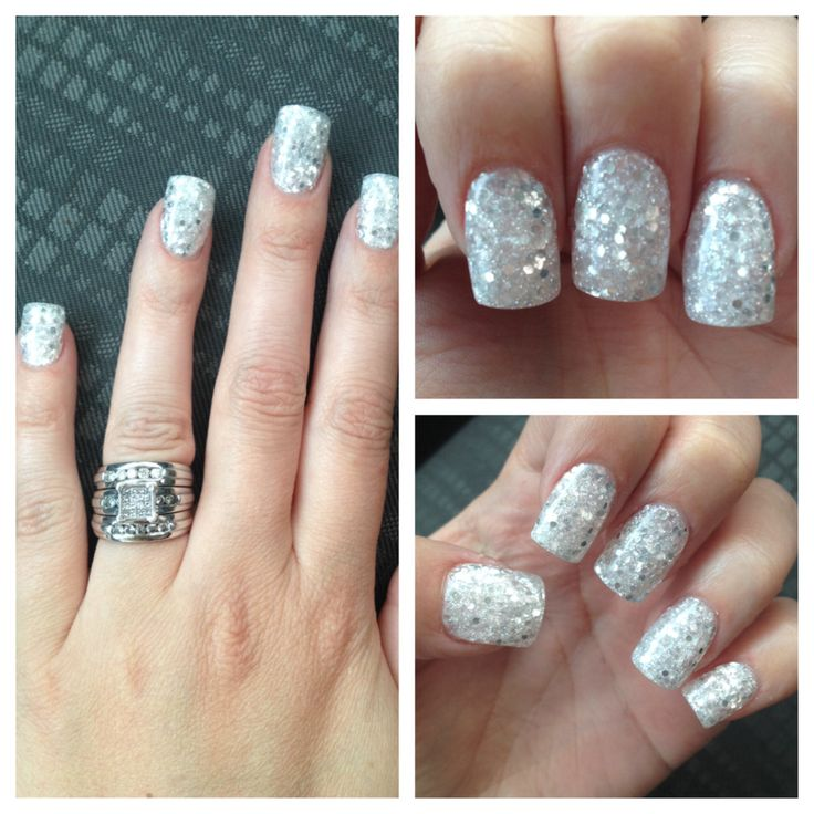 Elegant Silver Nails For Prom: White/Silver Glitter Acrylic Nails!