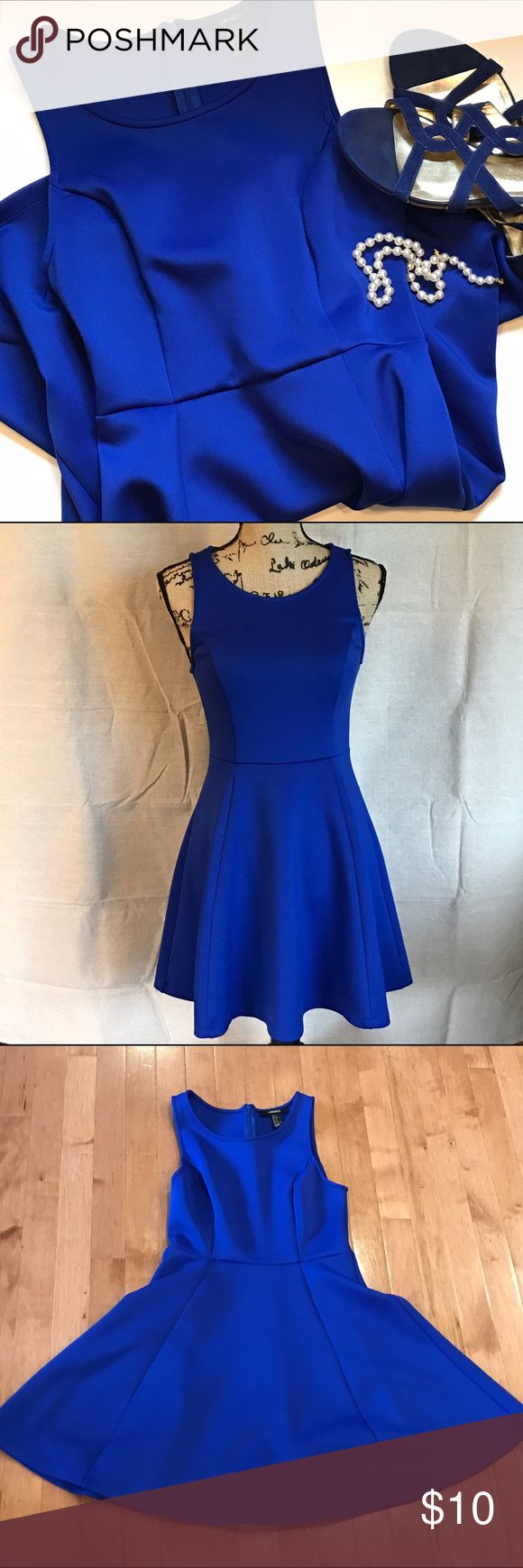 Forever 21 blue scuba skater dress Flattering cut and fabric this royal blue skater dress from Forever 21 is a size small. Forever 21 Dresses