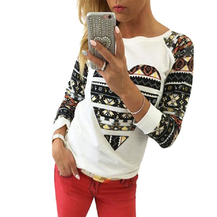 Women Sweatshirt Hoodies Long Sleeve Harajuku Print heart Hoodies Women Clothes LJ5170E