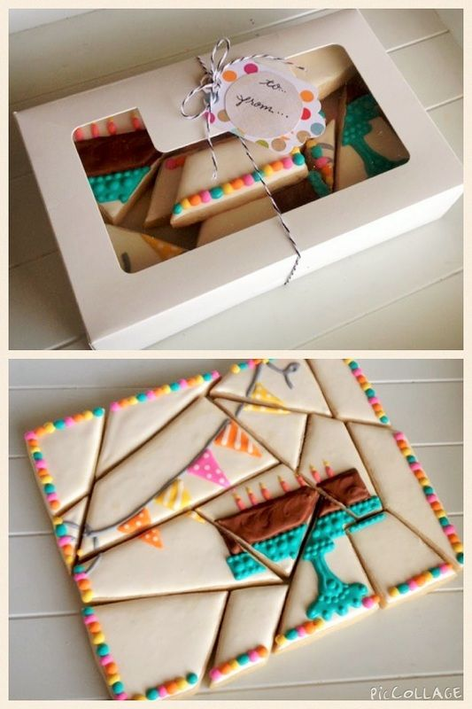 Puzzle Cookies ~ dough rolled out & shaped into a rectangle, cut before baking. After cooling, decorate with a single design spread over all pieces. Present together in a box | via Mesaz Sweet