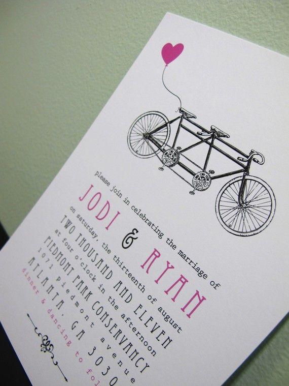 Tandem Bike Bicycle Wedding Invitation SAMPLE by PinkHeartsPaperie, $2.50
