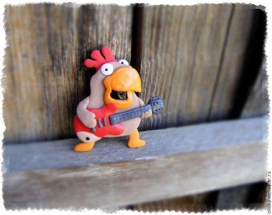"""Магниты ручной работы. Ярмарка Мастеров - ручная работа. Купить Магнит """"Петушок с гитарой"""". Handmade. Комбинированный, магнит петух"""