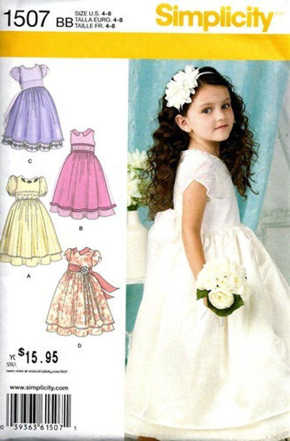 515be613315a SEWING PATTERN / Make Girls Fancy Dress -First Communion -Flower Girl /  Size 4~8