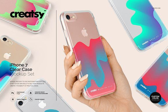 Download Iphone 7 Clear Case Mockup Set Clear Cases Iphone Business Card Logo