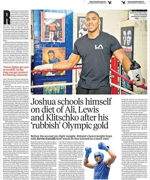 Check out LA Muscle Ambassador, Olympic Champion and MBE Anthony Joshua in The Independent: http://www.independent.co.uk/news/people/profiles/anthony-joshua-schooling-himself-on-diet-of-ali-lewis-and-klitschko-after-his-rubbish-olympic-gold-medal-8905187.html