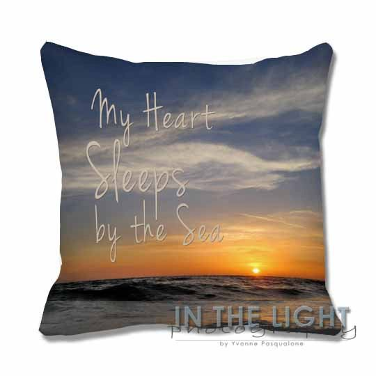 Florida Sunset Quote  My Heart Sleeps by the Sea pillow