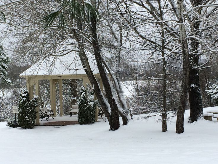 """Snow Photo Contest"" 3rd Place Winner is Cinde Stewart Freeman with this amazing image of the Friends Gazebo. #snowpocalypse2016 #CumberlandHeights #Nashville #Tennessee #Addiction #Rehab #sobriety #soberliving #12Steps"