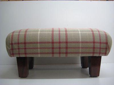 Footstool in Laura Ashley Keynes cranberry check ,square legs | eBay
