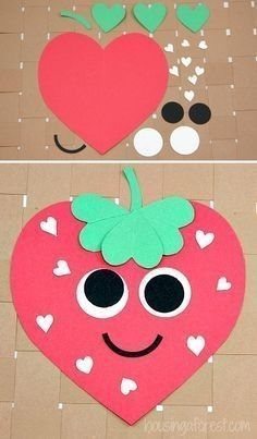 Cute strawberry valentine craft for kids.