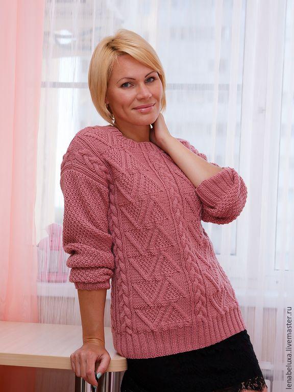 Купить Розовый свитер. - розовый, свитер, свитер вязаный, свитер женский, свитер спицами