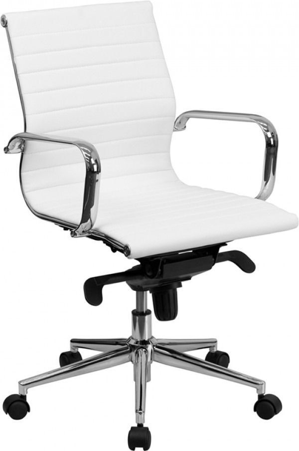 Modern Mid Back Office Chair with Chrome Base & Arms