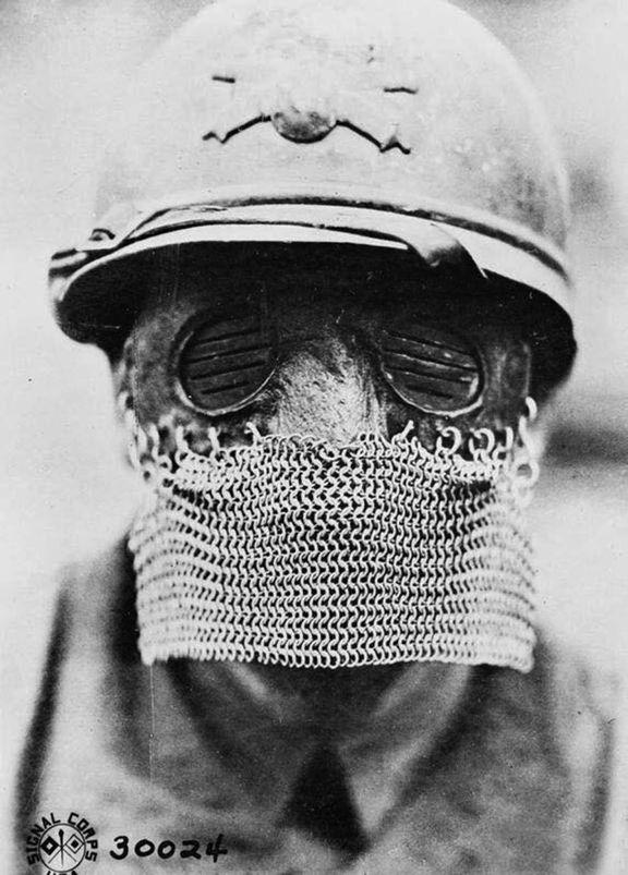 Splinter mask worn by British tank gunners during WWI, 1918