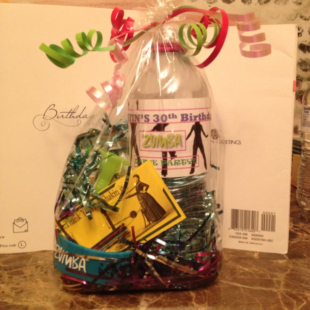 Zumba party goodie bags- water bottle, painted Bobbie pins, bracelet, and kashi bar
