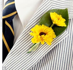 Seersucker tux and sunflower boutonniere. So bright and cheery