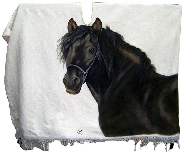 poncho pintado a mano / painted by hand Caballo pintado