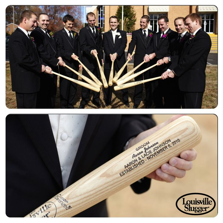 Great, unique gift idea for groomsmen, ushers, and ring bearer - a LouisvilleSlugger personalized bat! You can have each bat individually engraved with the person's name, wedding role, date, etc. Go to www.sluggergifts.com to order yours today!