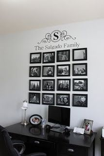 Family picture wall - used Cricket die cut machine to do the vinyl design!
