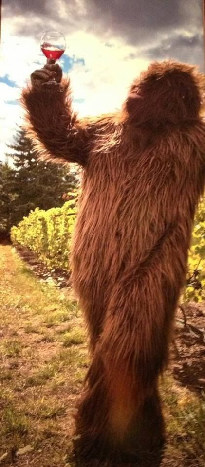 Even Big Foot loves a glass of wine at the end of a hard day. this got me soo good!!! Reminds me of mulder and the xfiles! hahahahahah