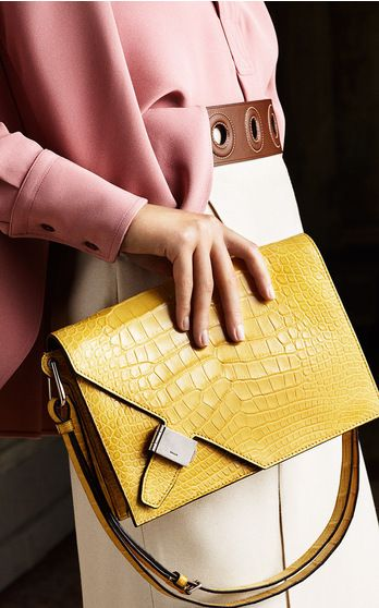bally spring summer 2016 #yellow #bags #handbag......Follow Yellow Handags: https://www.pinterest.com/lyndanna/yellow-handbags/...  How to Create Quote Images for Pinterest Fast!  https://www.pinterest.com/lyndanna/pinterest/