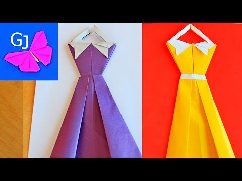 DIY Paper Cards :: Origami Dress :: How to make an origami paper dress - YouTube