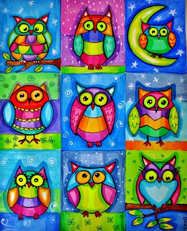 colorful owl art.