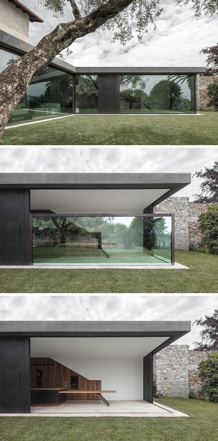 Bergmeisterwolf have designed a modern extension for a house in Italy that features vertical sliding windows that can disappear into the ground.